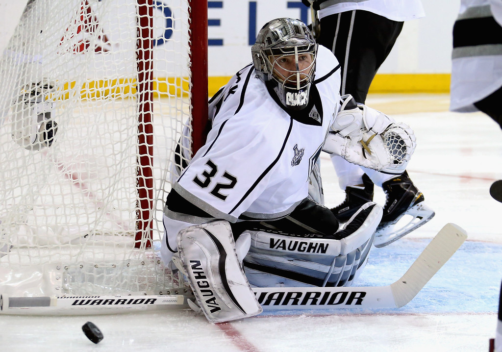 . Jonathan Quick #32 of the Los Angeles Kings makes a save during the second period of Game Three of the 2014 NHL Stanley Cup Final against the New York Rangers at Madison Square Garden on June 9, 2014 in New York, New York.  (Photo by Bruce Bennett/Getty Images)