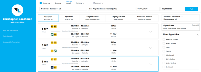flyline flight comparison nashville to los angeles