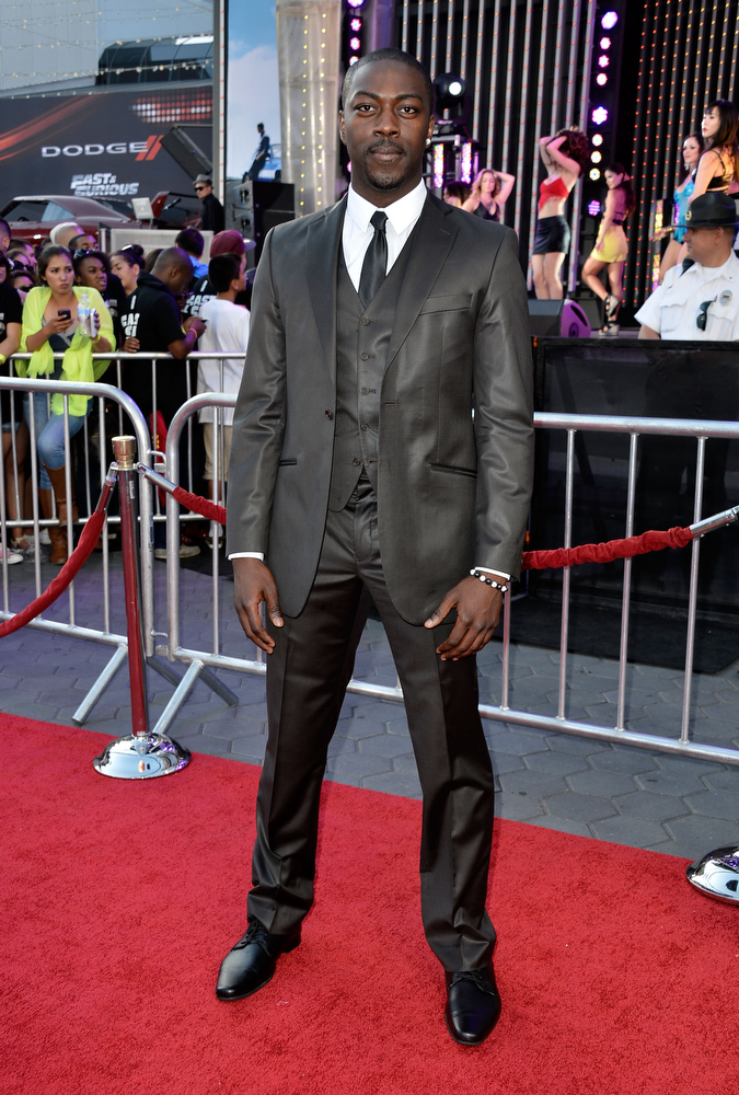 """. Actor David Ajaia arrives at the Premiere Of Universal Pictures\' \""""Fast & Furious 6\"""" on May 21, 2013 in Universal City, California.  (Photo by Frazer Harrison/Getty Images)"""