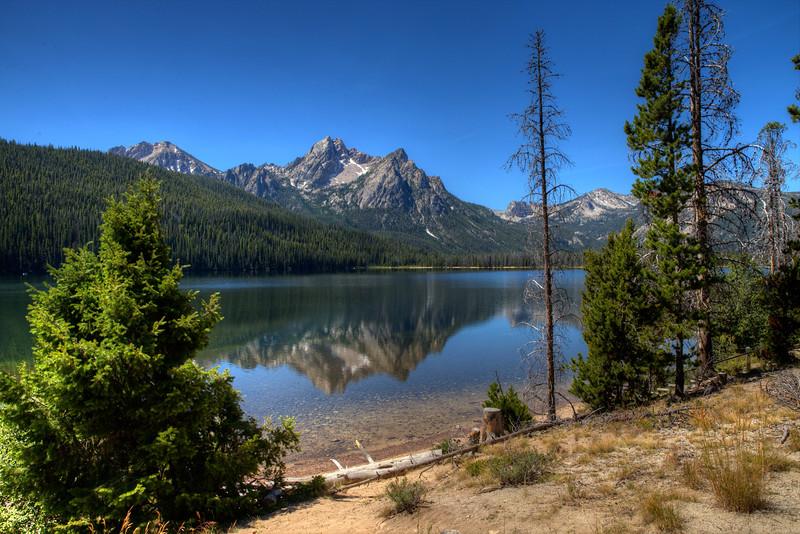 McGown Peak (9,860 ft) and Stanley Lake (6,513 ft) - Sawtooth Mountains - Idaho
