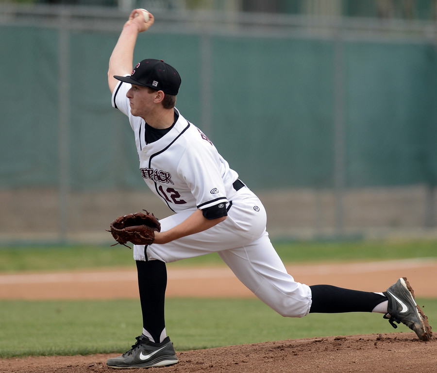 . Claremont\'s Andrew Bernstein pitches to Chino Hills, Claremont who went on to win 6-3 April 25, 2013. (Thomas R. Cordova/Staff Photographer)