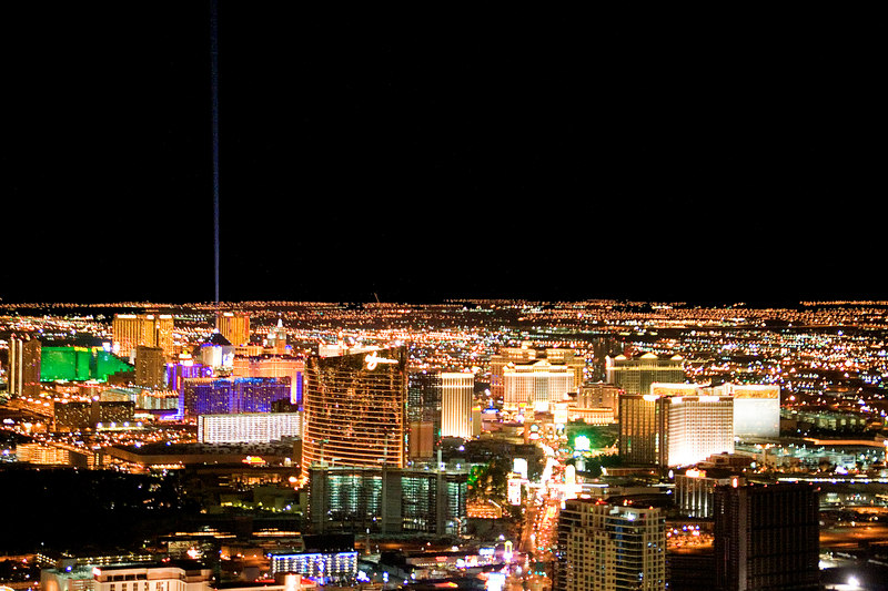 View of the Las Vegas strip from the observation deck of the Stratosphere