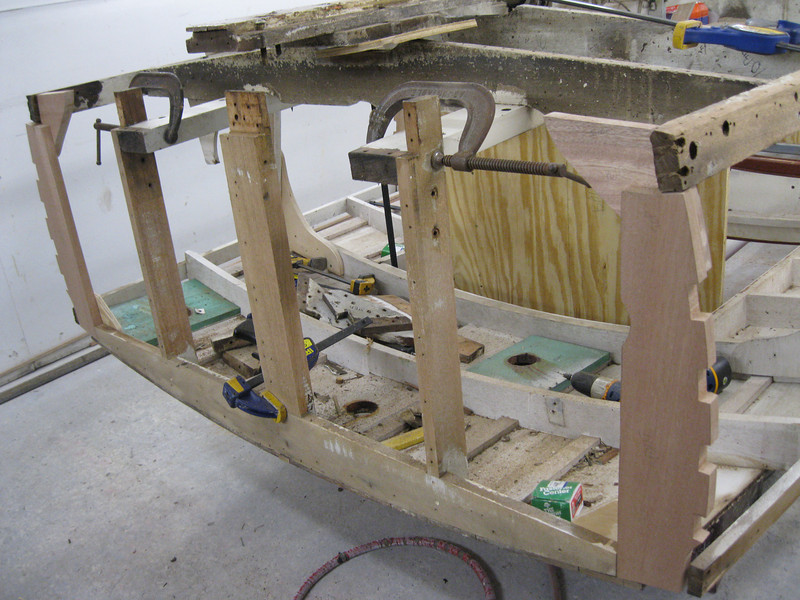 Port view of transom frame removed.