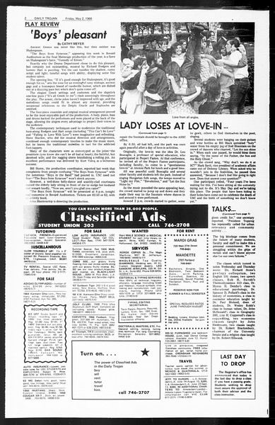 Daily Trojan, Vol. 60, No. 115, May 02, 1969