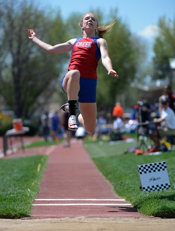 . LAKEWOOD, CO - MAY 16:  Megan McCabe, Cherry Creek High School, launches during the girls 5A long jump final at the 2013 Colorado State Track and Field Championships at Jeffco Stadium May 16, 2013. McCabe won the competition with this jump, jumping 18ft 3.5 inches. (Photo By Andy Cross/The Denver Post)