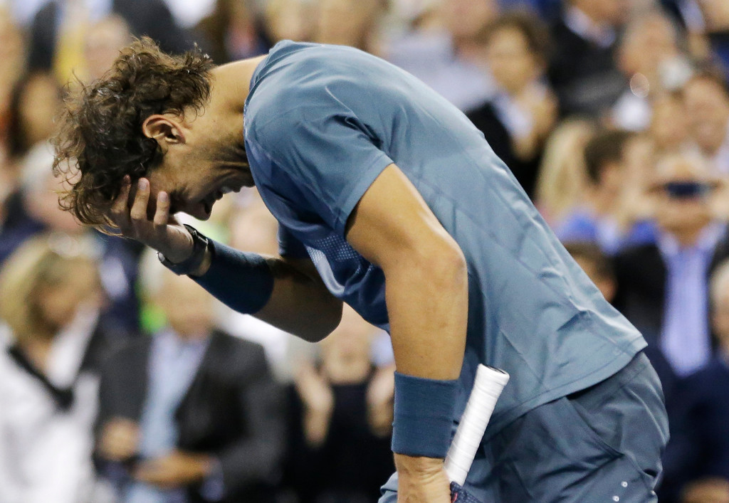 . Rafael Nadal, of Spain, reacts after defeating Novak Djokovic, of Serbia, during the men\'s singles final of the 2013 U.S. Open tennis tournament, Monday, Sept. 9, 2013, in New York. (AP Photo/David Goldman)