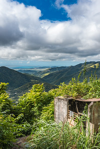 Old concrete structure with beautiful Puerto Rican valley in the background