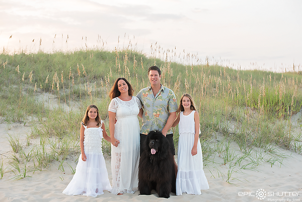 Family Photos, Summer Vacation, Avon, Hatteras Island, North Carolina, Outer Banks Photographer, Hatteras Island Photographer, OBX Family Vacation, Family Portraits, Family Photos, Pet Portraits, Sunset, Cape Hatteras National Seashore, Newfoundland Dog