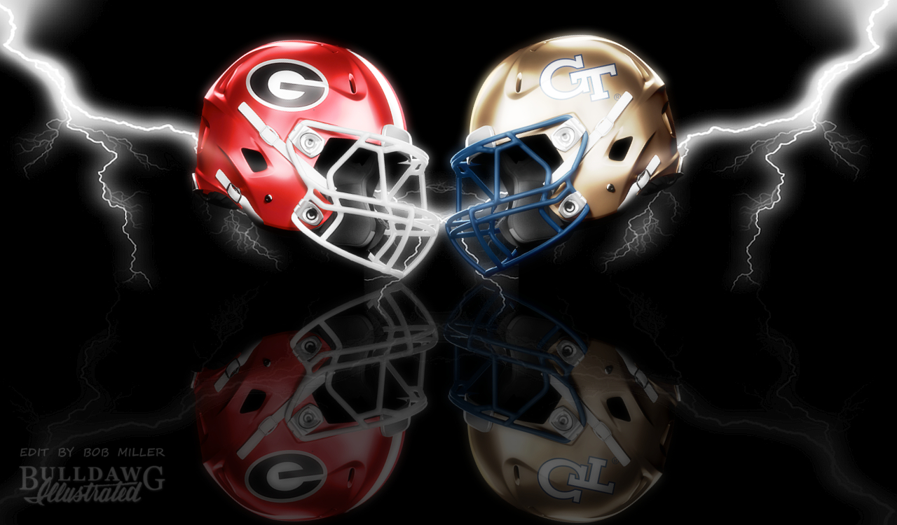 2019 Georgia vs. Georgia Tech helmet graphic edit with WONDER effects by Bob Miller