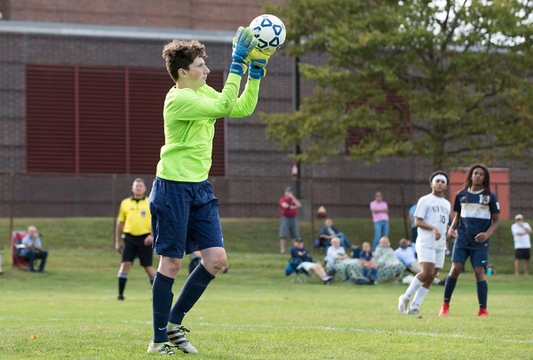 09/24/19 Wesley Bunnell | StaffrrNewington boys soccer defeated New Britain 3-1 on Tuesday afternoon at Newington High School. Newington goal keeper Nick Cox (0).