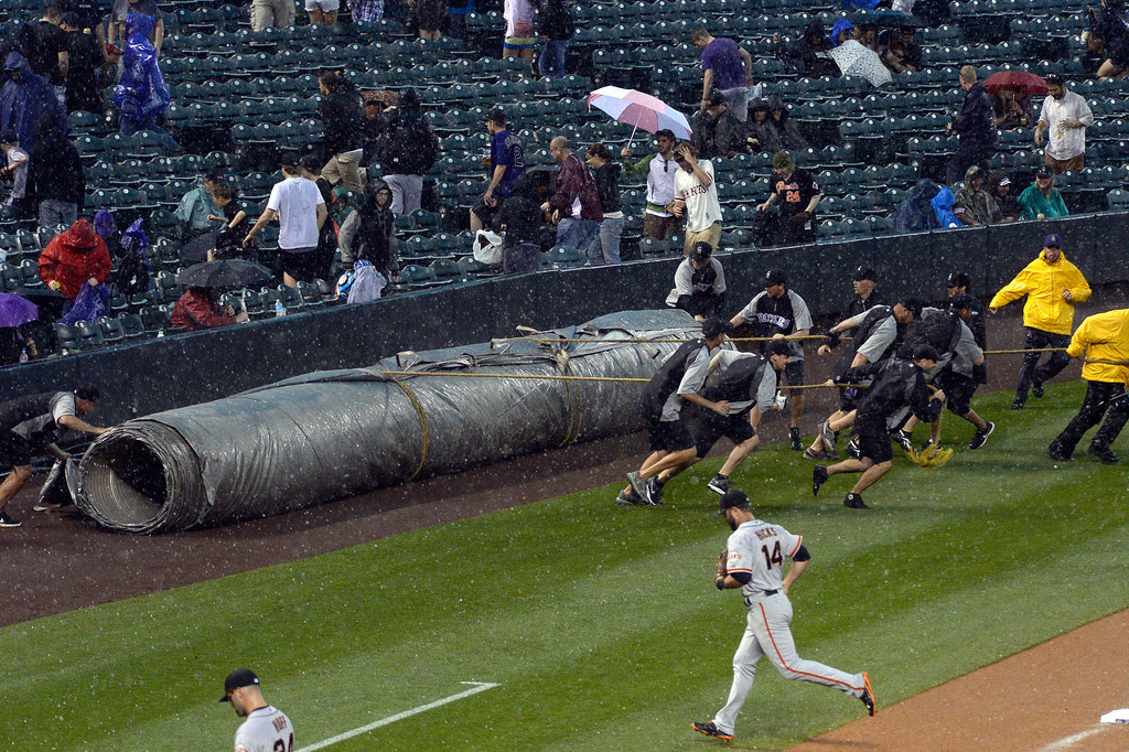 . DENVER, CO - MAY 22: Grounds crew roll out the tarp for a second rain delay during the Colorado Rockies San Francisco Giants game May 22, 2014 at Coors Field. (Photo by John Leyba/The Denver Post)