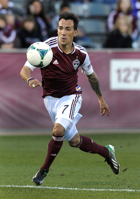 . COMMERCE CITY, CO. - OCTOBER 19: Colorado midfielder Vicente Sanchez (7) controlled the ball in the second half. The Colorado Rapids defeated the Vancouver Whitecaps 3-2 at Dick\'s Sporting Goods Park Saturday, October 19, 2013. Photo By Karl Gehring/The Denver Post