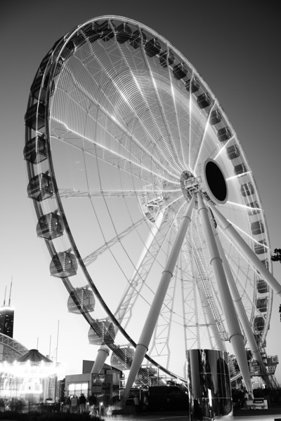 Black and White Ferris Wheel in Motion
