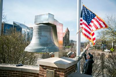 31838 Major General Richard Thomas flag over campus