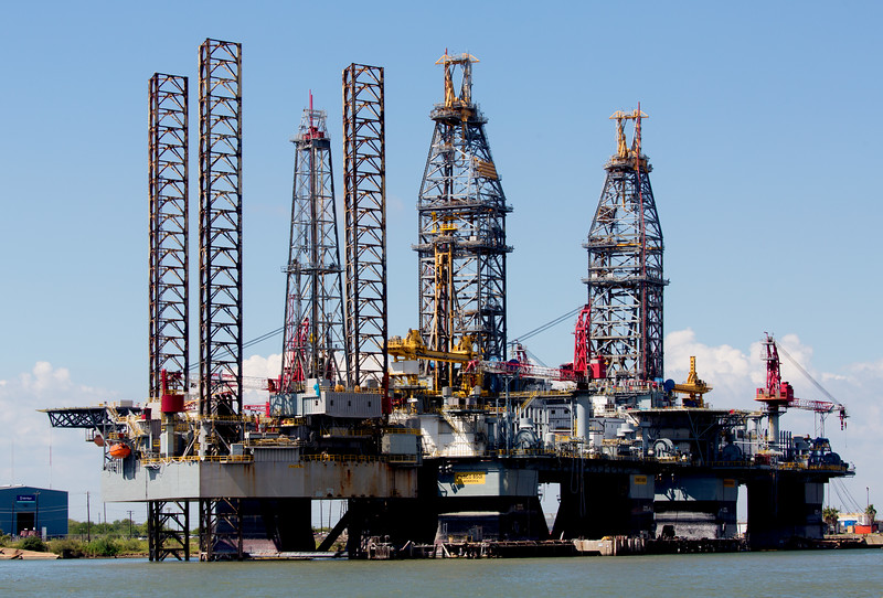 A forest of jack-up rigs on the Pelican Island side of Galveston Harbor