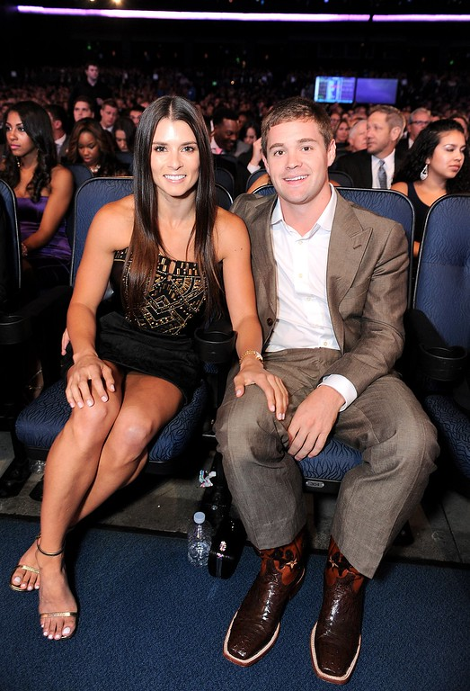 . Danica Patrick, left, and Ricky Stenhouse Jr. pose in the audience at the ESPY Awards on Wednesday, July 17, 2013, at the Nokia Theater in Los Angeles. (Photo by Jordan Strauss/Invision/AP)
