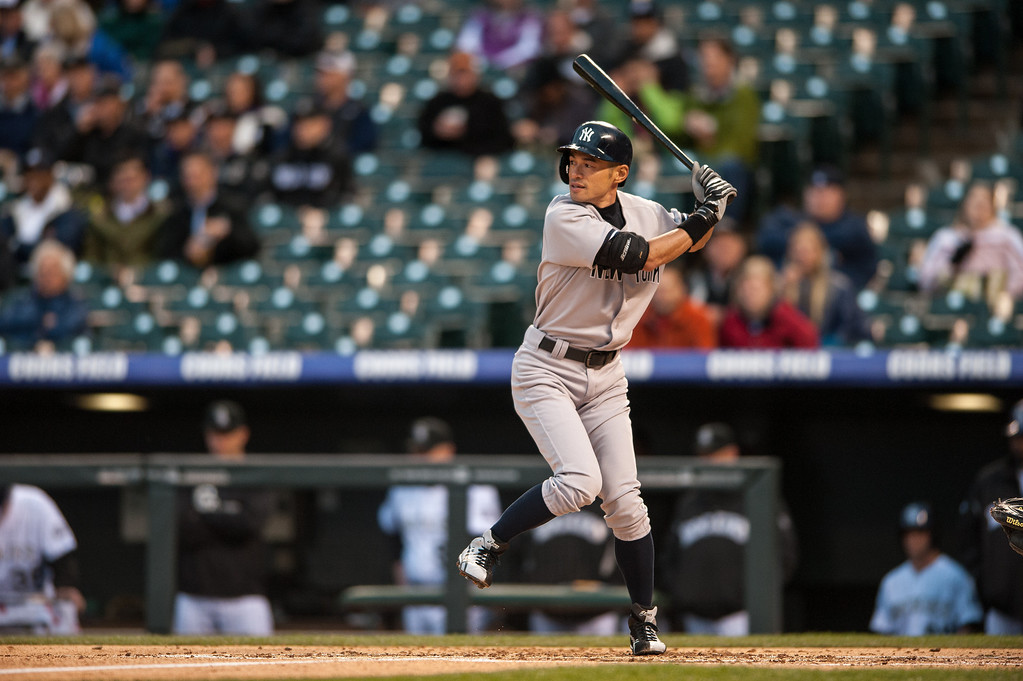 . Ichiro Suzuki #31 of the New York Yankees takes an at bat against the Colorado Rockies in the first inning of a game at Coors Field on May 8, 2013 in Denver, Colorado. The Yankess led the Rockies 2-0 after one inning. (Photo by Dustin Bradford/Getty Images)