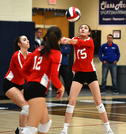 11/7/2019 Mike Orazzi | StaffrConard High School's Isabella Pincince (15) during the CCC girls volleyball tournament at Avon High School on Thursday.