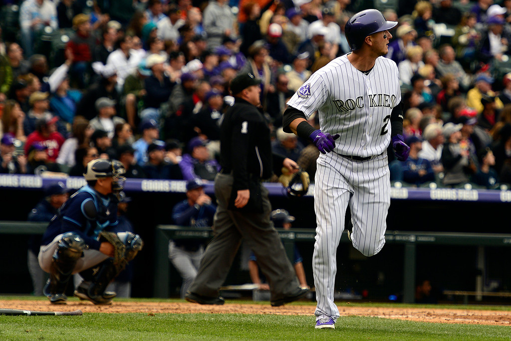 . DENVER, CO - MAY 5: Troy Tulowitzki (2) of the Colorado Rockies hits his seventh home run of the season against the Tampa Bay Rays during the Rockies\' 8-3 loss.   (Photo by AAron Ontiveroz/The Denver Post)