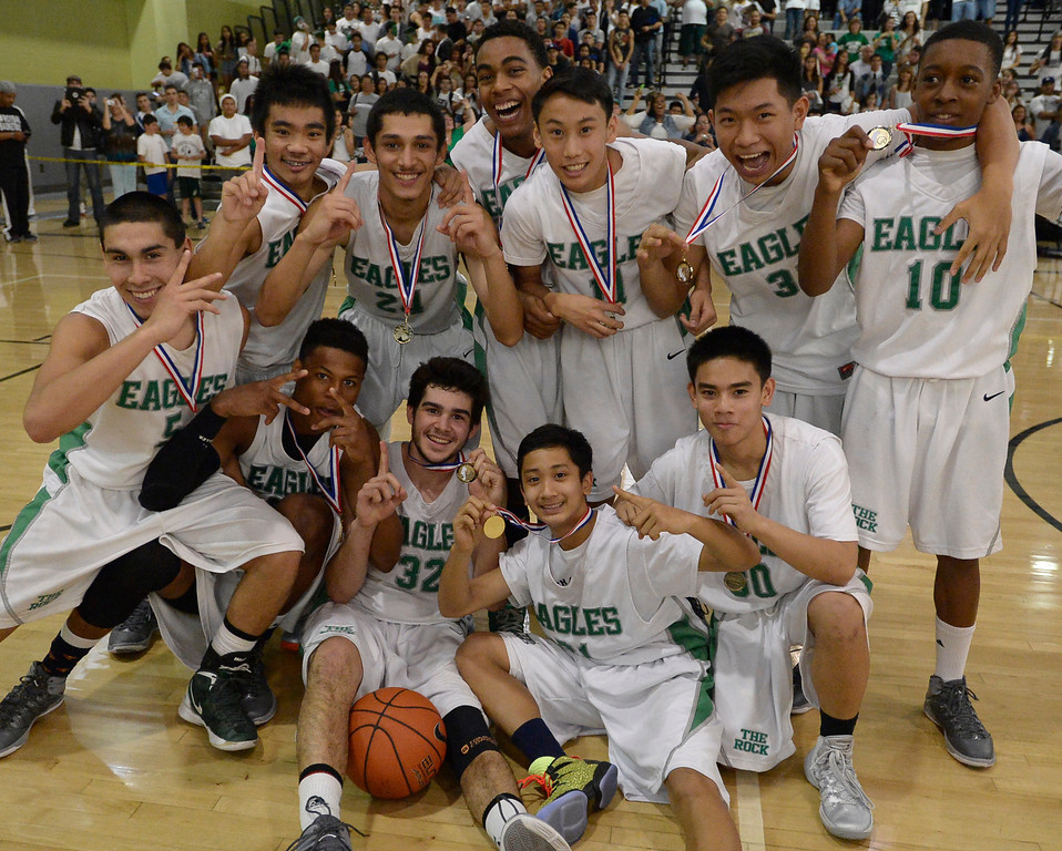 . The boys from Eagle Rock defeated Hamilton 68-56 in the City Section Division III Boys basketball final. Los Angeles, CA. March 8, 2014 (Photo by John McCoy / Los Angeles Daily News)