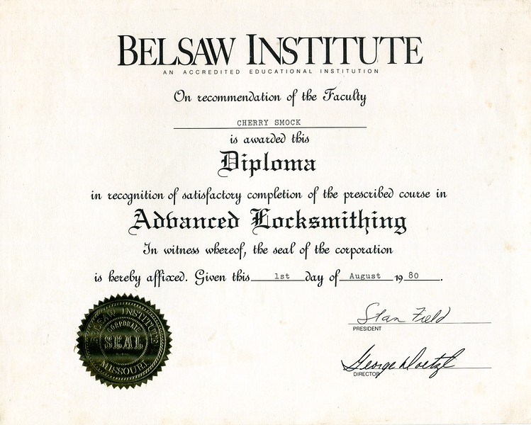 1980 Cherry Smock advanced locksmith diploma