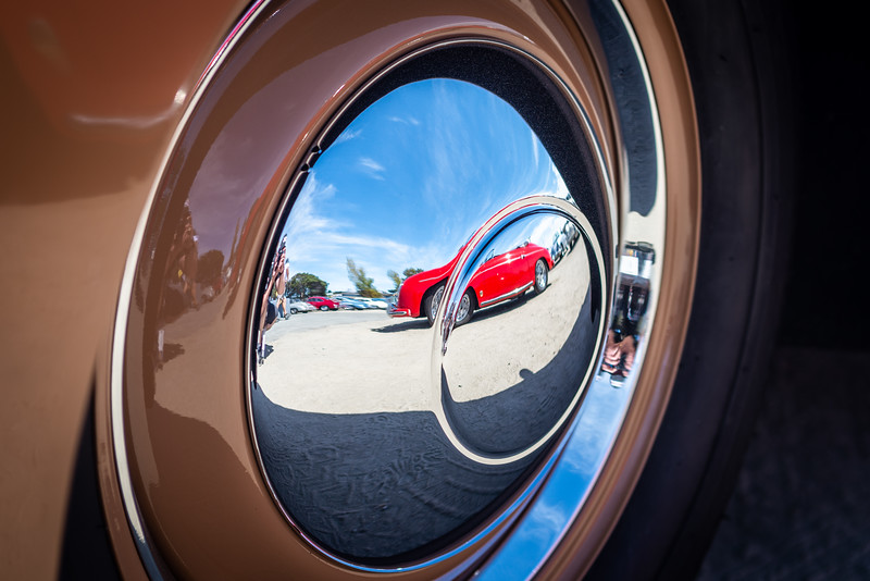 Reflections of a 356, in the hubcap of a 356.