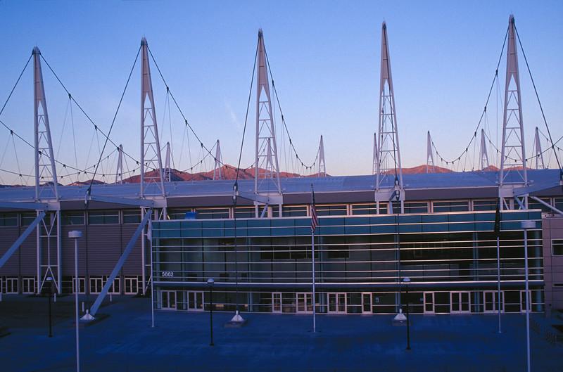 Utah Olympic Oval at dusk