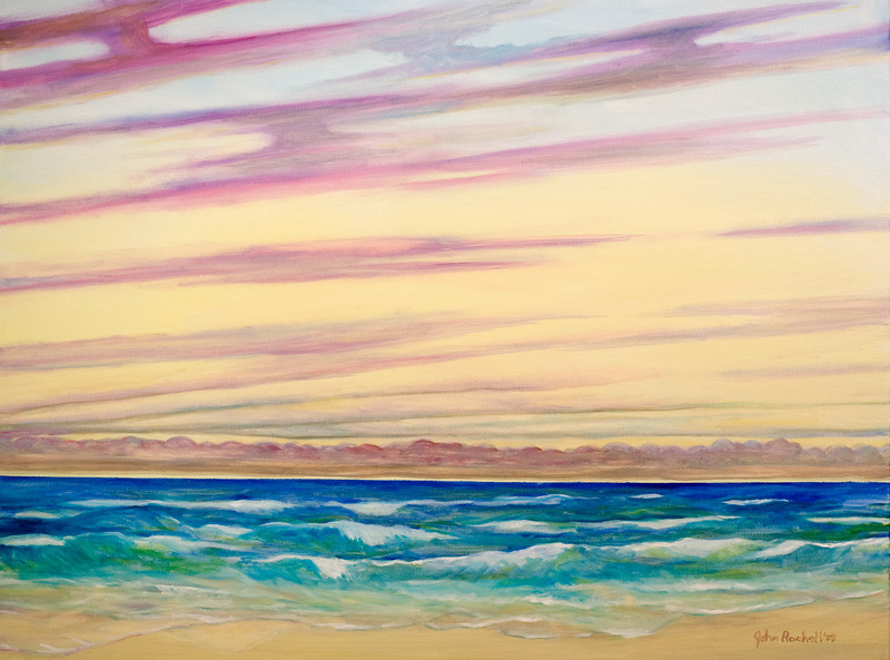 "© 2008 John Rachell Title: Ocean Atlantic, August 15, 2008 Image Size: 48"" w by 36"" d Dated: August 15, 2008 Medium and Support: Oils on Linen Signed: LR Signature"