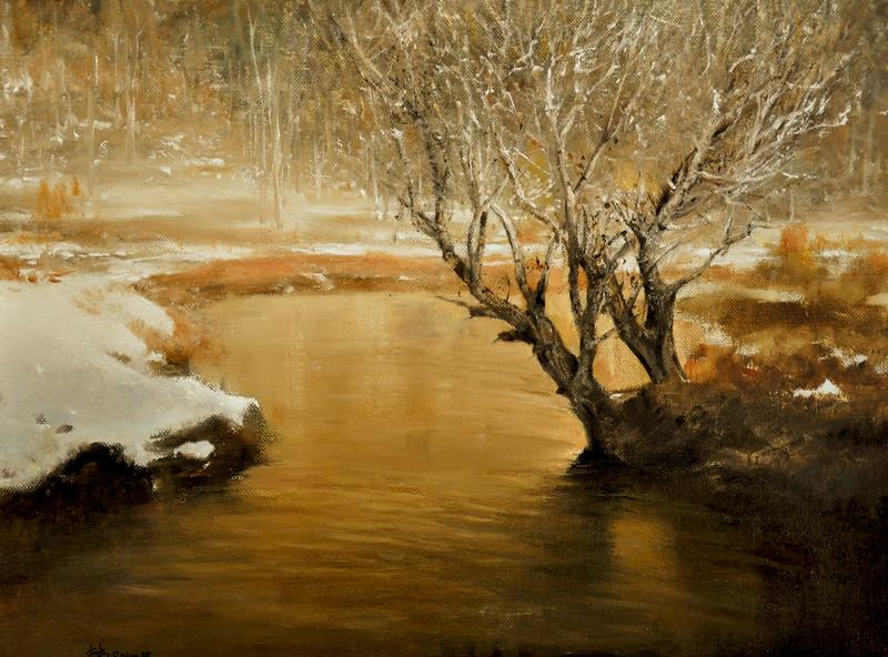 Solitude at Twilight (Spring Thaw, Killington, VT) Oil on Linen 18x24