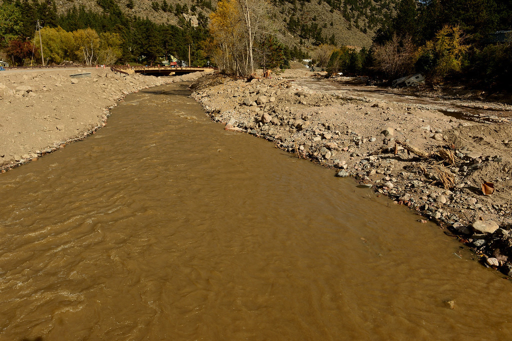 . The damage is still quite extensive in downtown Drake, Co on October 16, 2013. and the waters of the Big Thompson River are still muddy.  (Photo By Helen H. Richardson/ The Denver Post)