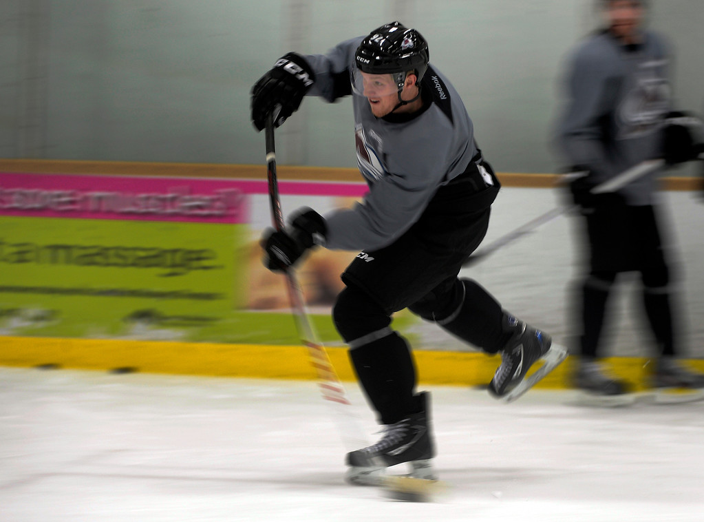 . Colorado Avalanche LW Gabriel Landeskog (92) takes a shot  during practice at training camp Tuesday, January 15, 2013 at Family Sports Center. John Leyba, The Denver Post