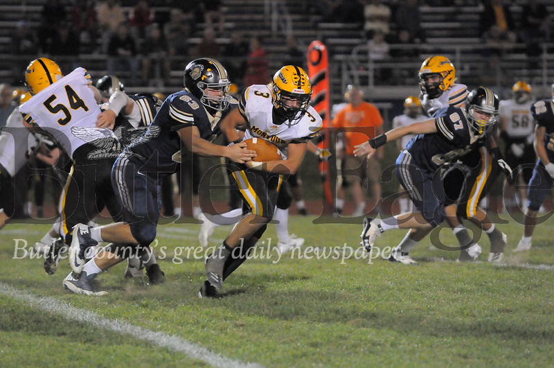 Montour #3 Gannon Kadlecik makes a brake for it as Knoch #63 Benjamin Lueck goes in for the tackle during a game at Knoch Stadium on Friday September 27, 2019 (Jason Swanson photo)