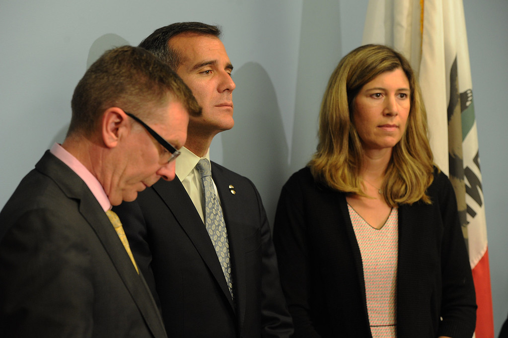 . LAUSD Superintendent John Deasy, LA Mayor Eric Garcetti and School Board member Tamar Galatzan listen during a news conference to provide an update on the bus crash in Northern California at the LAUSD headquarters. Los Angeles, CA. 4/11/2014 (Photo by John McCoy / Los Angeles Daily News)