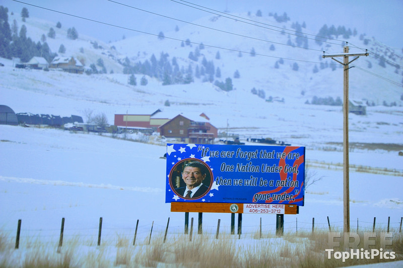 A Ronald Reagan Road Sign In Montana, USA