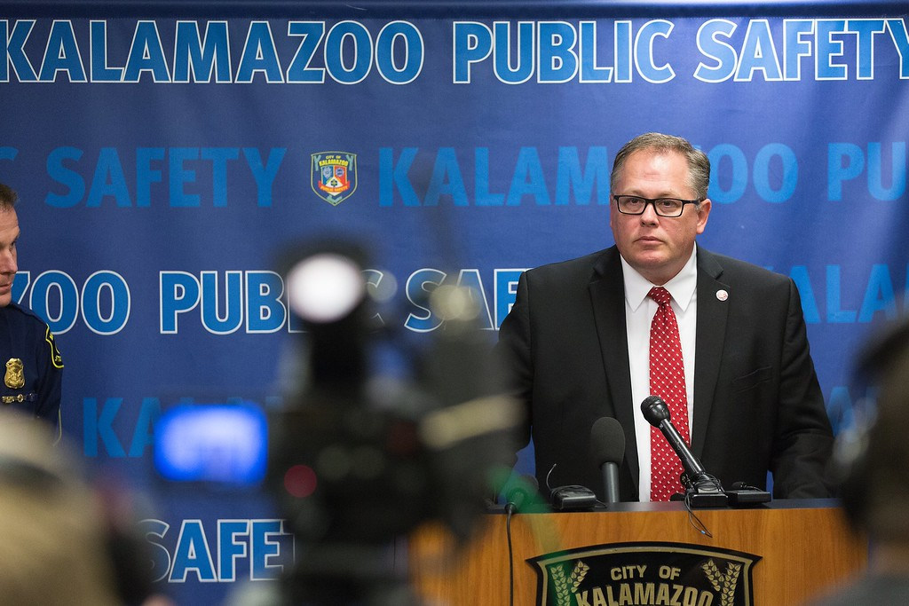 . Jeff Getting, prosecuting attorney, speaks during a news conference Sunday, Feb. 21, 2016 regarding the mass shooting in Kalamazoo, Mich.  Jason Dalton of Kalamazoo County was arrested early Sunday in downtown Kalamazoo following a massive manhunt after several victims were shot at random.  (Bryan Bennett/Kalamazoo Gazette-MLive Media Group via AP) LOCAL TELEVISION OUT; LOCAL RADIO OUT; MANDATORY CREDIT