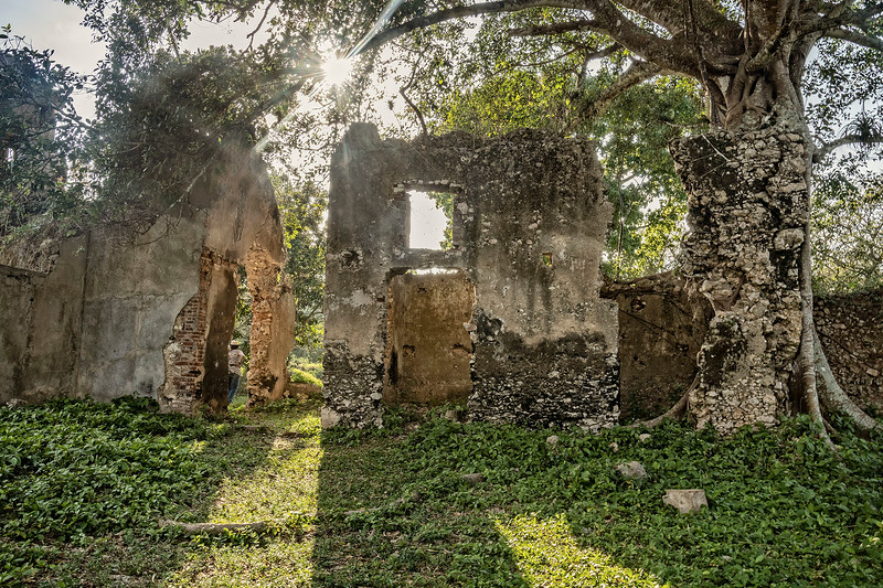 Walking down to the ruins of the old slave quarters...