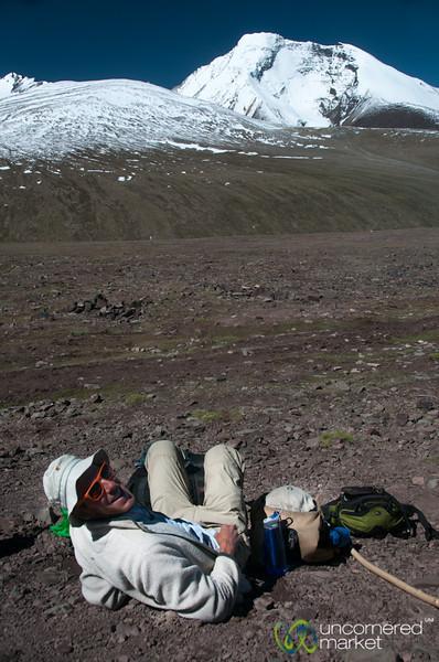Dan Takes a Break on Way to Kongmaru La Pass - Markha Valley Trek, Ladakh