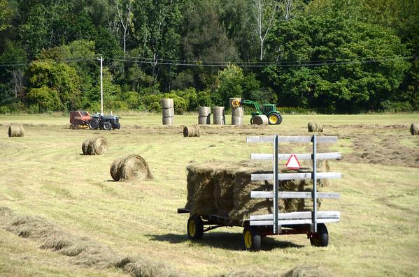 Haying a field in North Adams-091014
