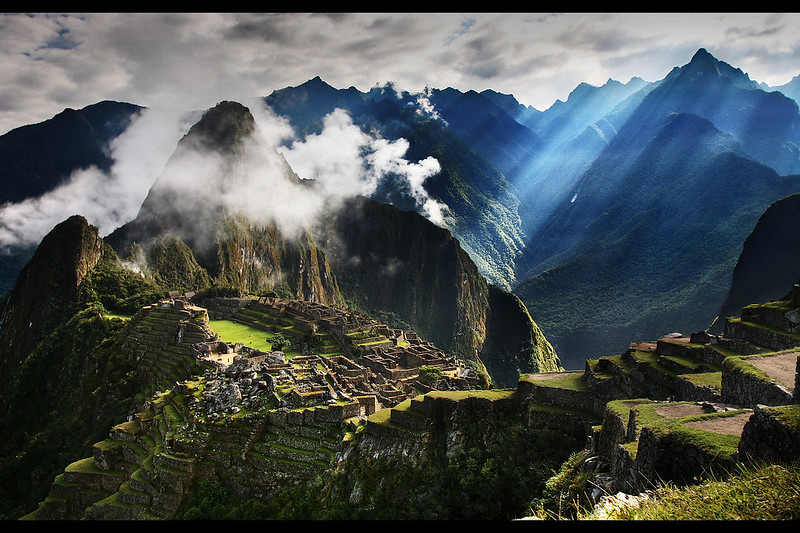 Morning sunbeams, Machu Picchu, Peru