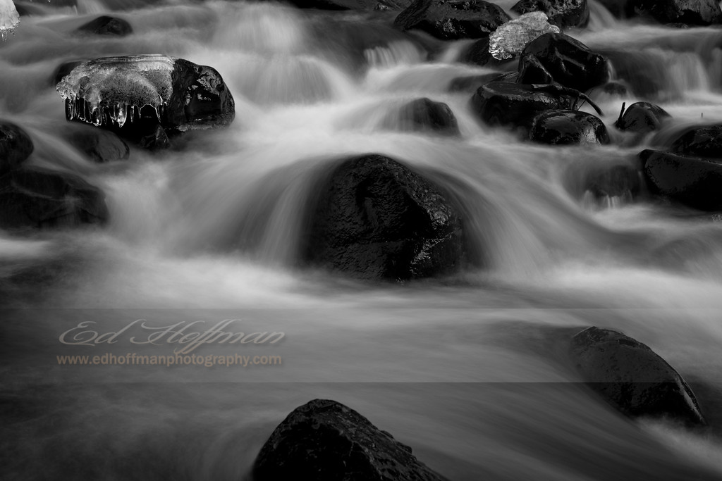 IMG_6418, Ice,Winter,Creek,Black and White, Idaho,Black and White Fine Art.
