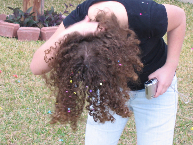 Oh wow that's going to take a long time to wash out of those curls!