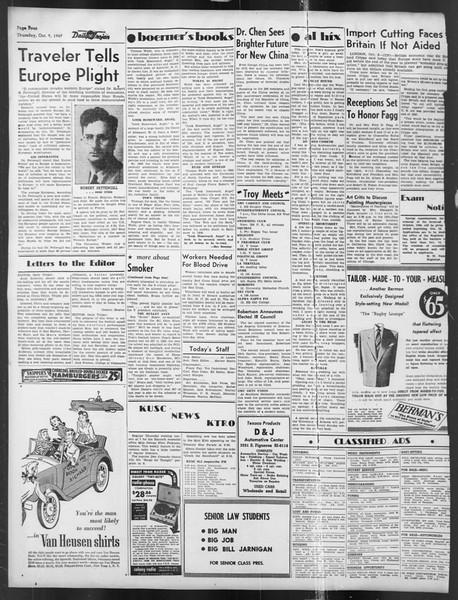 Daily Trojan, Vol. 39, No. 19, October 09, 1947