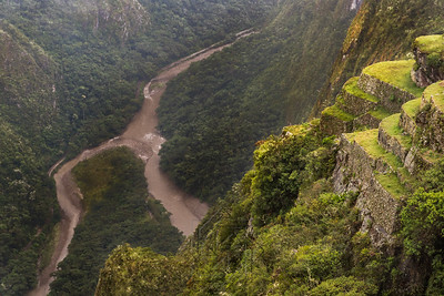 Close up view of the winding Urubamba river