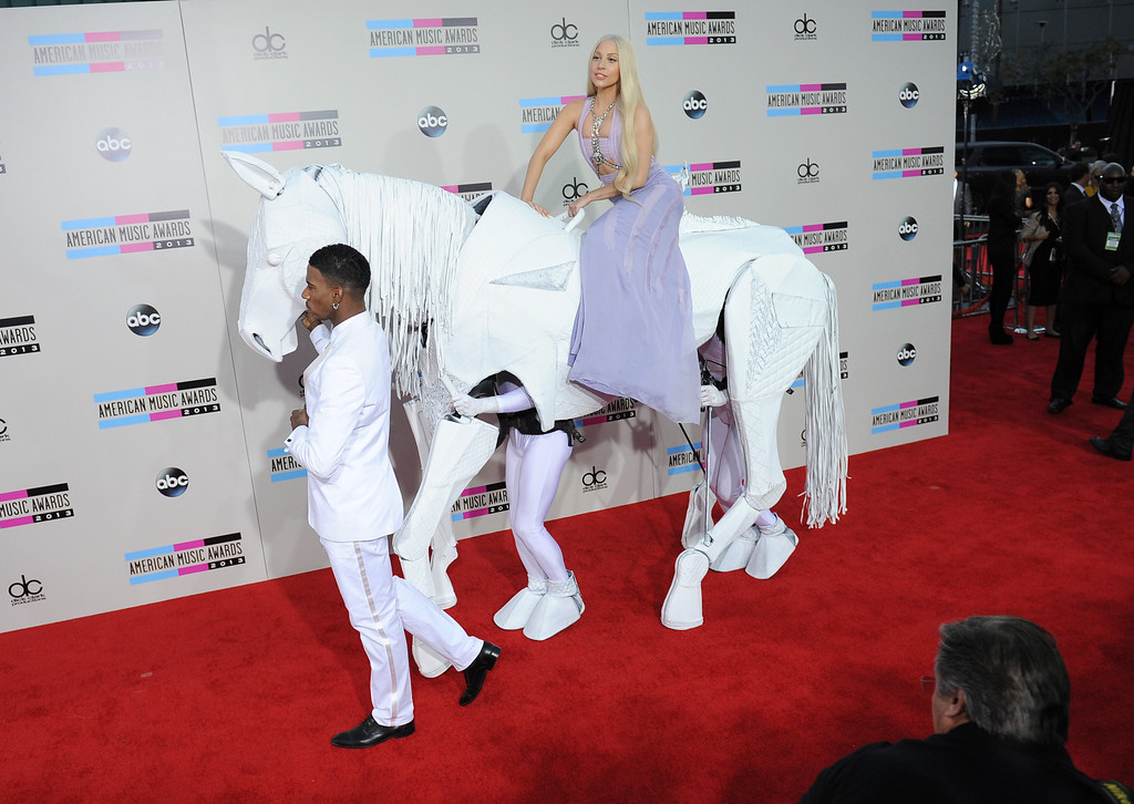 . Lady Gaga arrives to the American Music Awards  at the Nokia Theatre in Los Angeles, California on Sunday November 24, 2013 (Photo by Andy Holzman / Los Angeles Daily News)