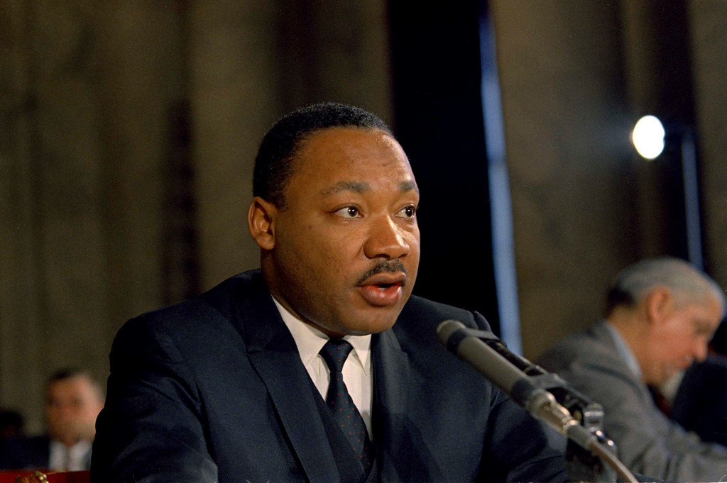 . Dr. Martin Luther King civil rights leader testifying before the Senate Government Operations subcommittee, December 15, 1966. (AP Photo)