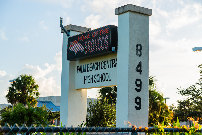 Signage at Palm Beach Central High School in Wellington on Saturday, August 18, 2018. (Joseph Forzano / The Palm Beach Post)