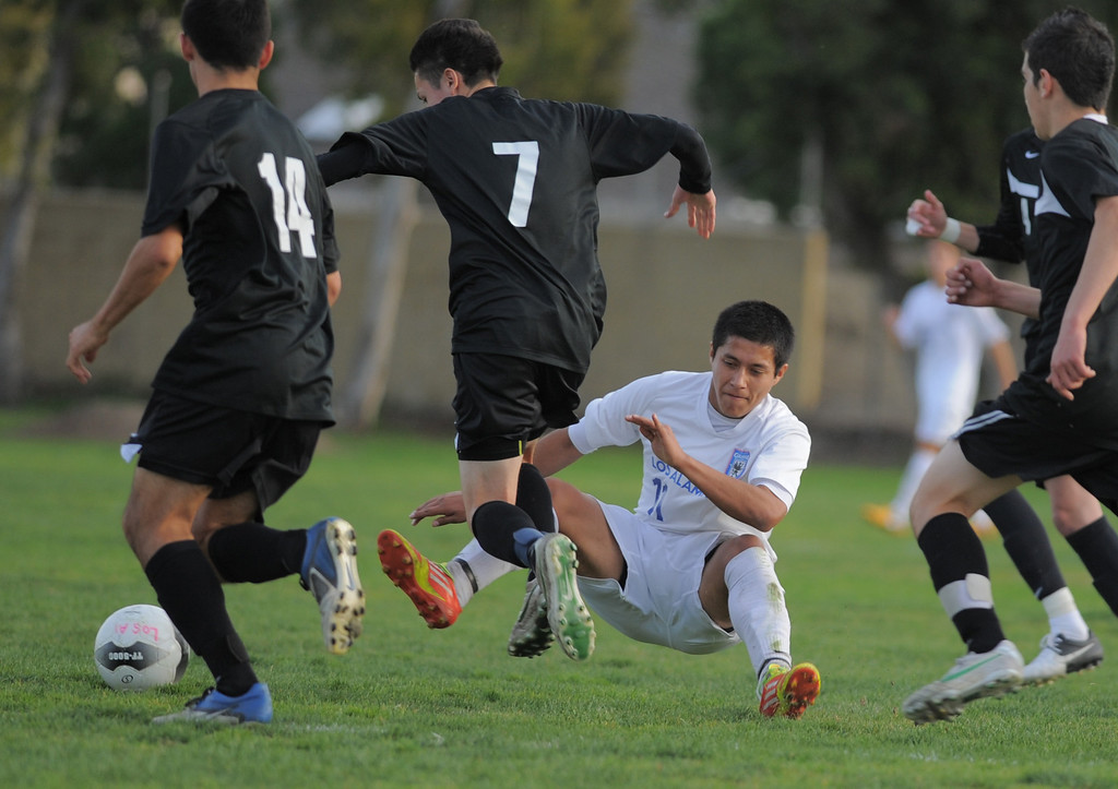 . 02-15-2012--(LANG Staff Photo by Sean Hiller)- Los Alamitos beat Buena 4-1 in the first round of the Division 1 boys soccer playoffs Friday at Laurel School in Los Alamitos. Ozvaldo Yanez had to be heavily guarded by Buena defenders.