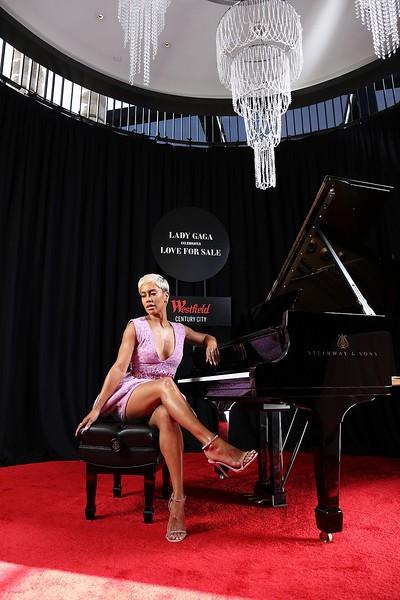 Lady Gaga Celebrates Love for Sale Century City Piano