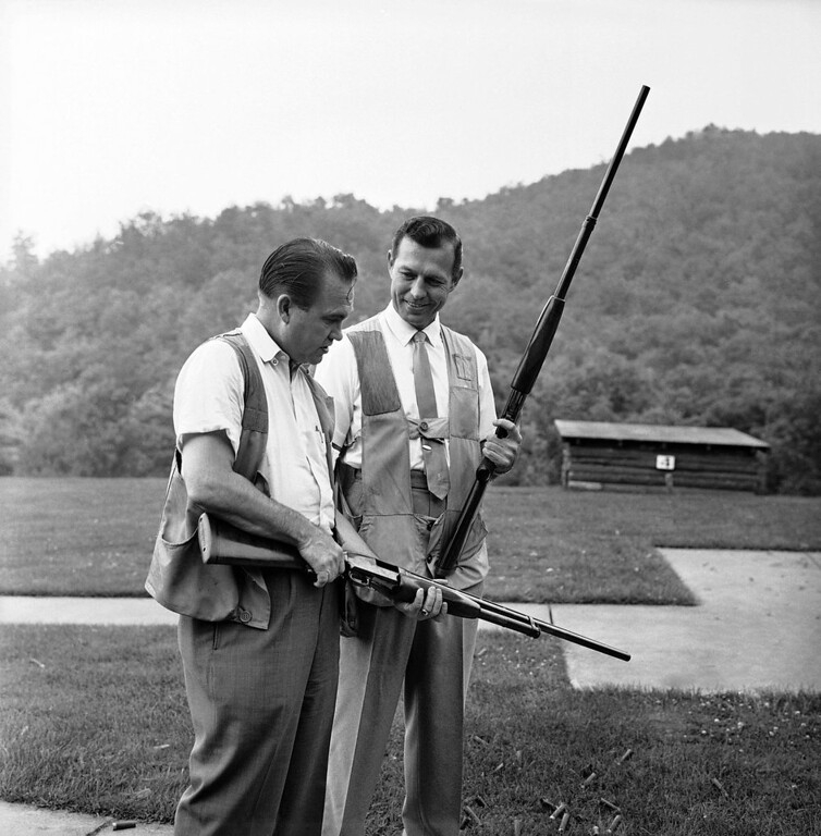 . Gov. George Wallace of Alabama, left, and Carl Sanders of Georgia get set for a bit of skeet shooting during a moment of relaxation at the 29th annual Southern Governors\' Conference at White Sulphur Springs, West Virginia, August 20, 1963. (AP Photo)
