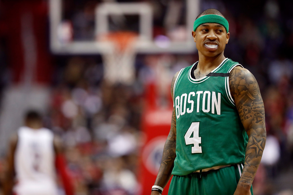 . Boston Celtics guard Isaiah Thomas (4) walks on the court in the first half of game 6 of the Eastern Conference semifinal NBA basketball playoff series against the Washington Wizards, Friday, May 12, 2017, in Washington. (AP Photo/Alex Brandon)